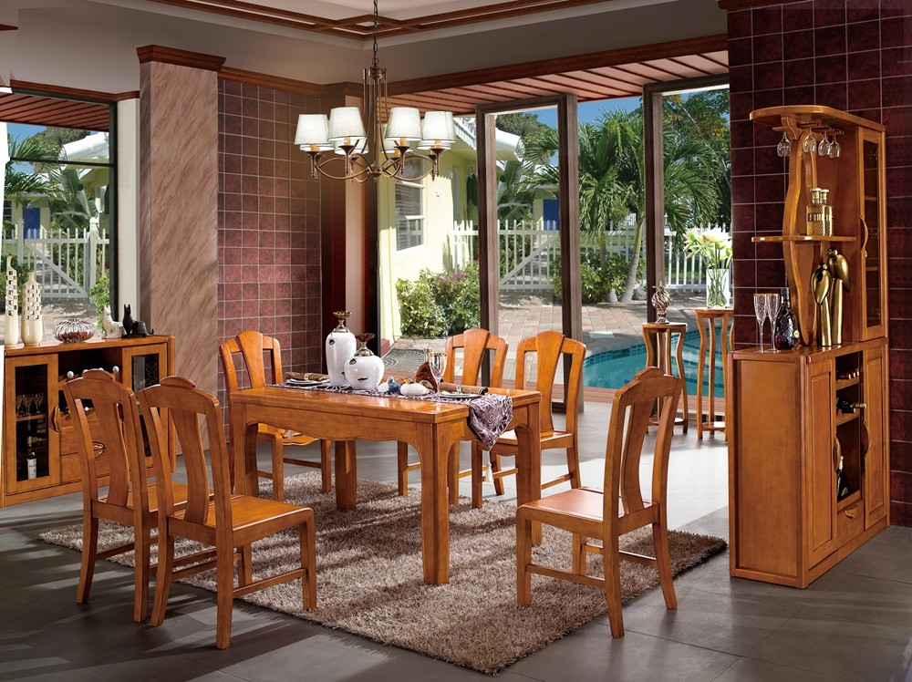 Hot sale modern solid wooden furniture dining room table and chair set design 8301