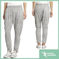 wholesale women's knit trousers printing pants with zipper