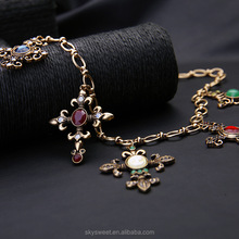 Skysweet gold colorful cross necklace,latest fashion gold jewelry design (PR1203)