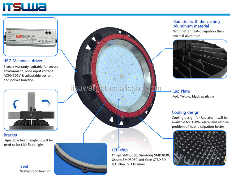 100W Meanwell driver SMD3030 chips, LED high bay light industrial LED light 120lm/w 5 years warranty,lighting