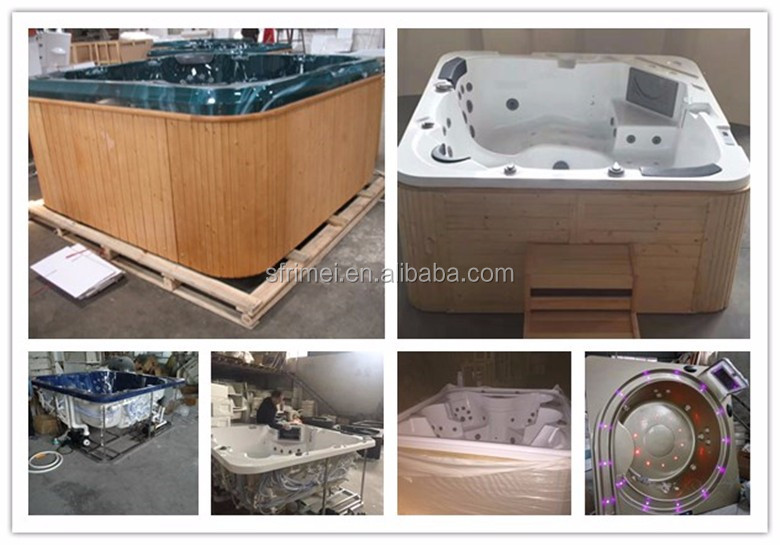K-8982 Japan 4 Person Spa Bathtub Cheap Freestanding Sex Wooden Hot Bathtub With TV/DVD