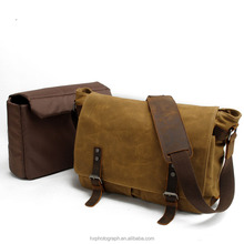 High Quality Fashionable Waterproof Waxed Canvas Vintage Camera Messenger Bag