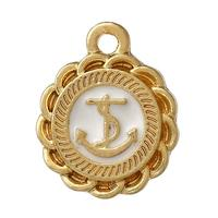 "Charm Pendants Round Gold Plated White Anchor Enamel 16.0mm( 5/8"") x 13.0mm( 4/8""), 20 PCs"