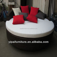 aluminum rattan round sofa cum bed furniture with pillow YPS058S1