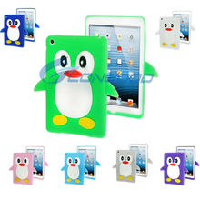 Colorful 3D Penguin Shape Silicone Case Cover Stand for iPad mini