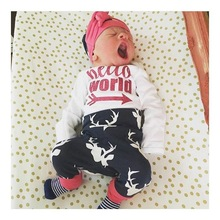Newborn infant hello world clothing high quality cotton deer pants romper hat 3pcs outfits newborn baby clothing sets