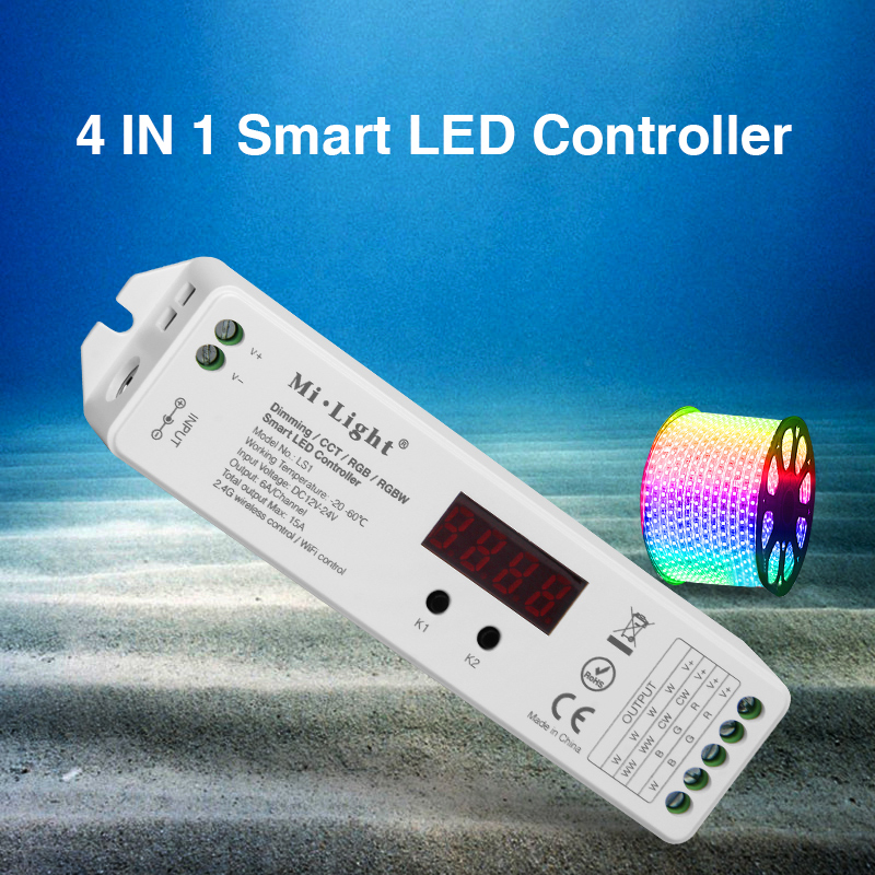 LS1; Mi.Light 2.4GHz 4 IN 1 Smart LED Controller;for dimming/CCT/RGB/RGBW;DC12-24V input;6A/Channel,total output Max.15A output