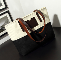 2015 hot sales white and black canvas tote bag with leather handles, leather handbag wholesale