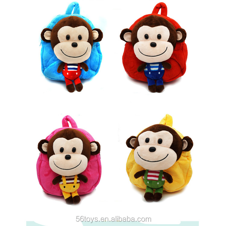 Lovely plush monkey toys for child bag to school