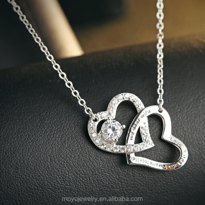 Sterling silver double linked heart necklace for wife gift engrave ''love holds our heart together ''