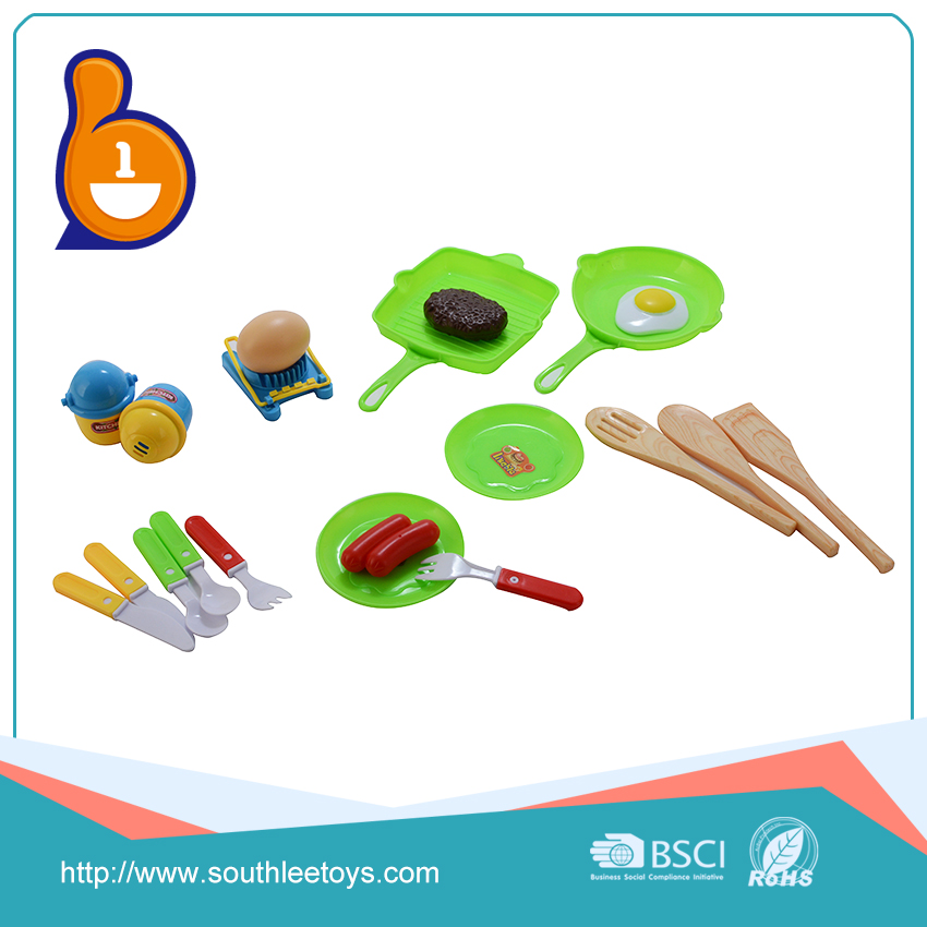 Popular kids plastic cooking games kitchen play set toy food for children