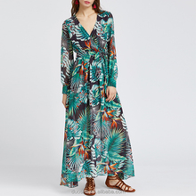 Clothing Factories In China All-over print Tropical Print V Neck Chiffon Dress With Belt