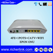 4PE+1Port+WIFI+CATV Fast ethernet optical network unit 1GE ftth epon onu
