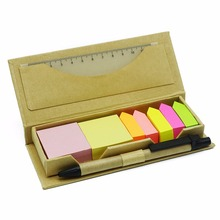 Colourful Sticky Notes Memo Box With 2 Square Note/5 Arrow Shape Note/A Ruler/A Pen Arrow Index Bookmark