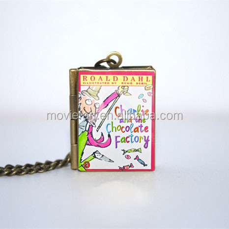 Charlie and the Chocolate Factory Book Locket Necklace silver & Bronze tone