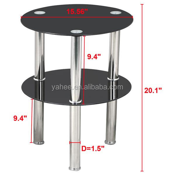 2 Tier Round Glass Coffee Table Modern Side End Table
