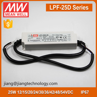 Mean Well LPF-25D-24 Constant Current LED Driver IP67 25W 24 Volt DC Power Supply