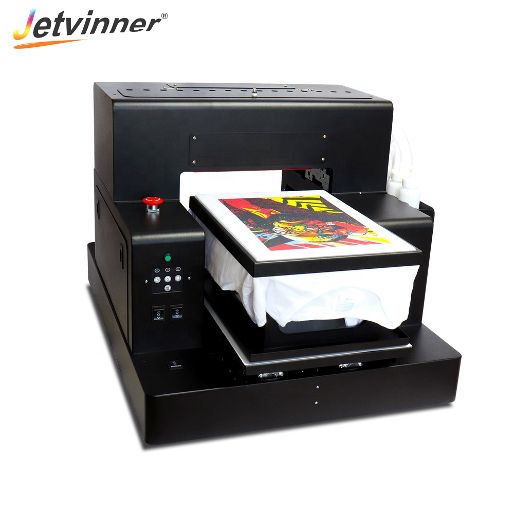 Jetvinner upgrade factory price Automatic 3050 dtg printer print tshirt <strong>jeans</strong> and canvas bag etc