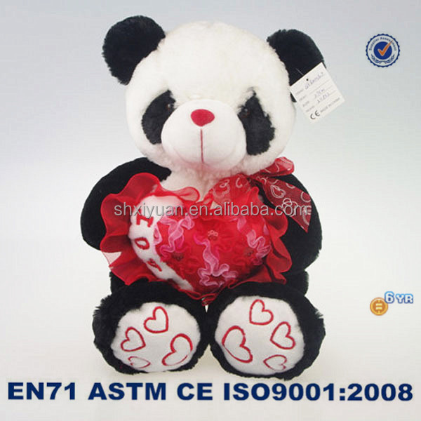 Sitting Animal Stuffed Panda Plush Toy Soft Panda Toys With Heart for Valentine Gift