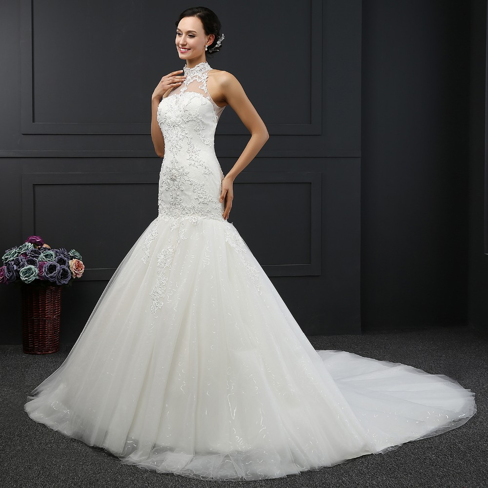Q-030 New Arrival Mermaid Wedding Dress Custom Pearls Ivory Made Bride Dresses Tulle 2016