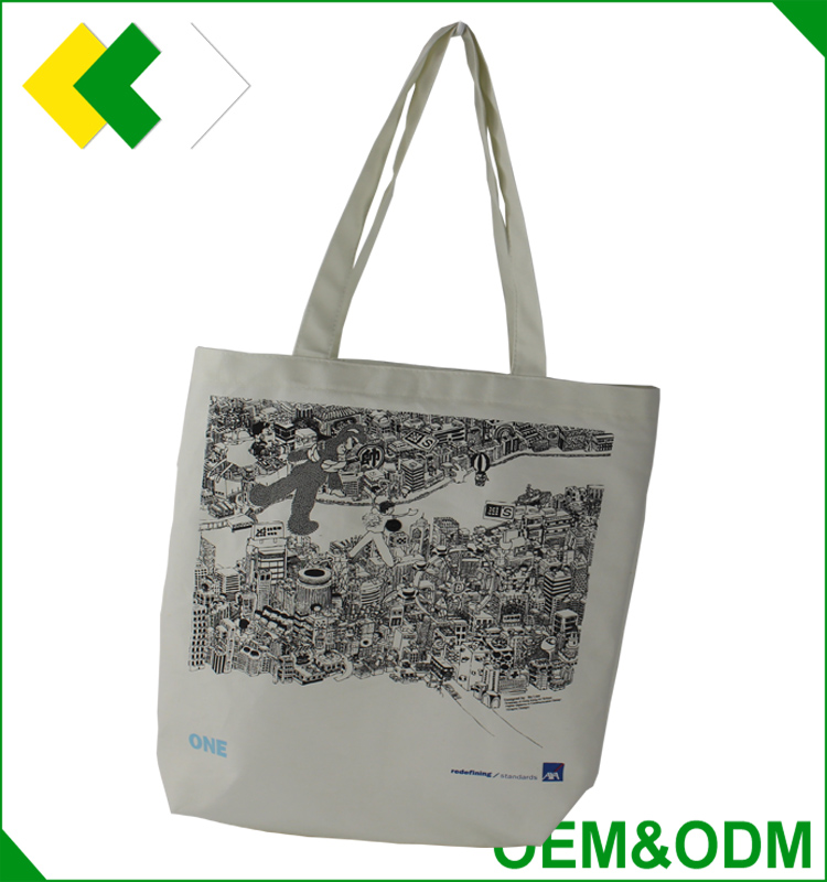 Top quality cotton foldable shopping bag Art custom logo printing promotional bag