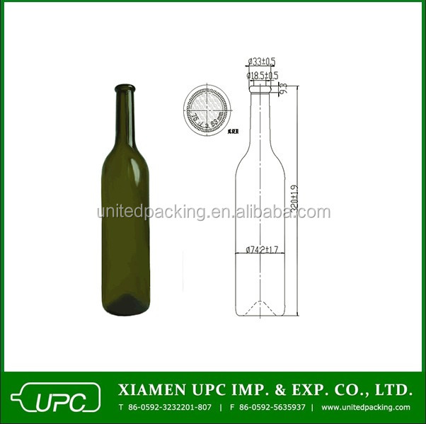 750ML Wine Glass Bottle Dark Green Color