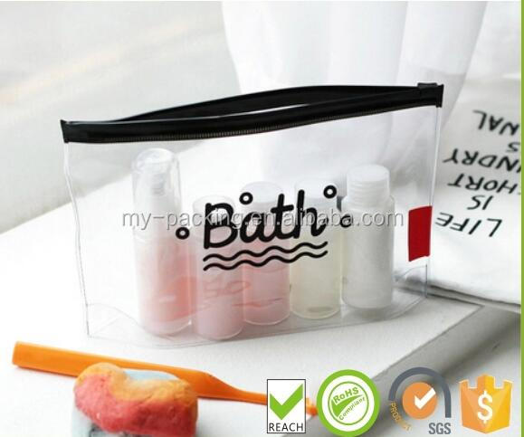 Custom Design Plastic Frosted Cosmetic Bag for Travel Toiletry Bag PVC Make Up Packaging Bag with Ziplock