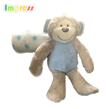 Hot selling monkey toy soft cute baby plush toys with blanket