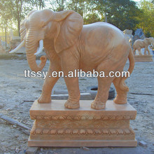 Outdoor marble elephant sculpture