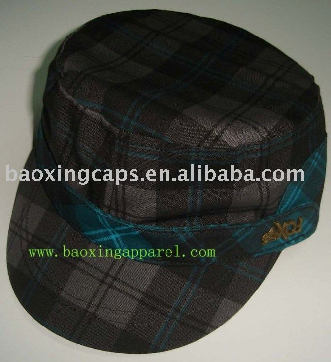 ladies checked fashion military style casual cap hat