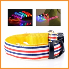 2.5cm Width Comfortable Stripes Series LED Luminous Cat Dog Collar