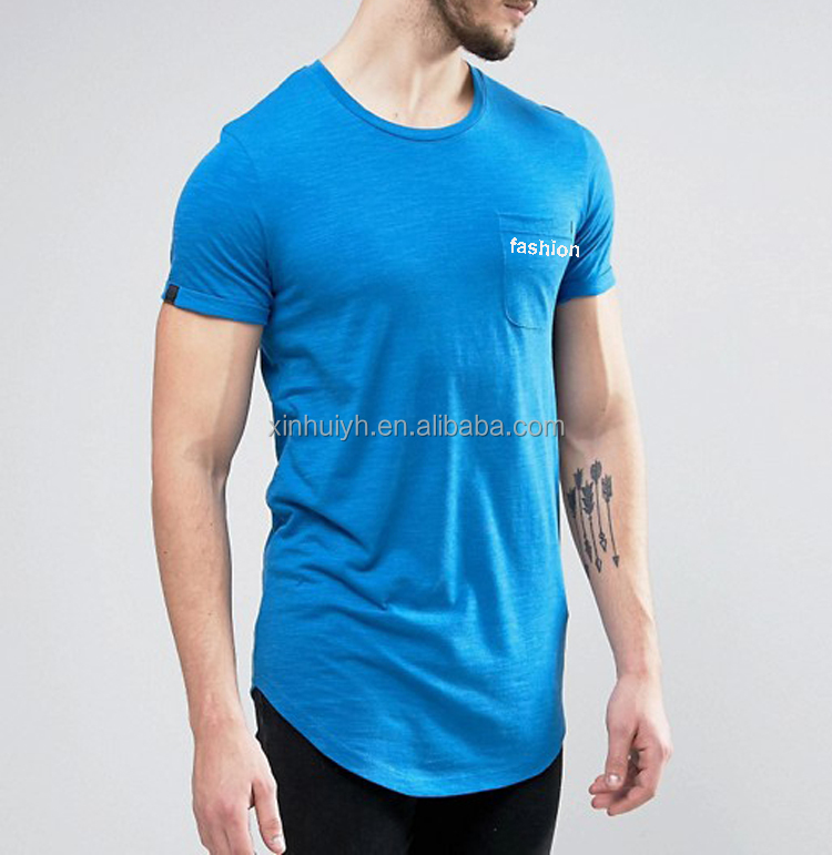 Custom Printed Long Rounded Hem 100% Cotton Extra Long Roll Sleeve Pocket T-Shirt In Different Color