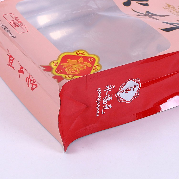 Customized printed flat square block bottom side gusset bag for snack