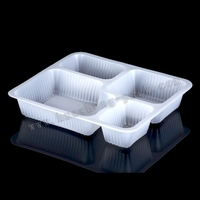 white plastic disposable 4 compartment food tray,disposable plastic airline tray with dividers