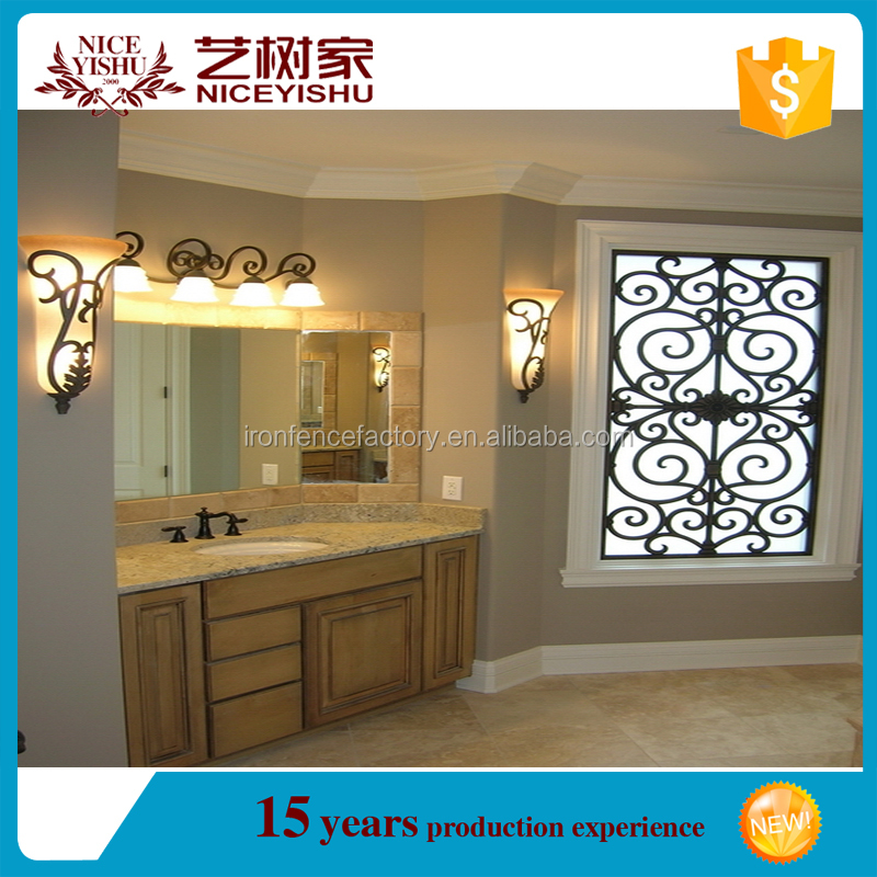High quality decorative latest iron window grill design/design window iron grills/forged iron window art
