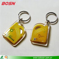 Top sell custom barrel shape clear acrylic bulk keychains with metal ring