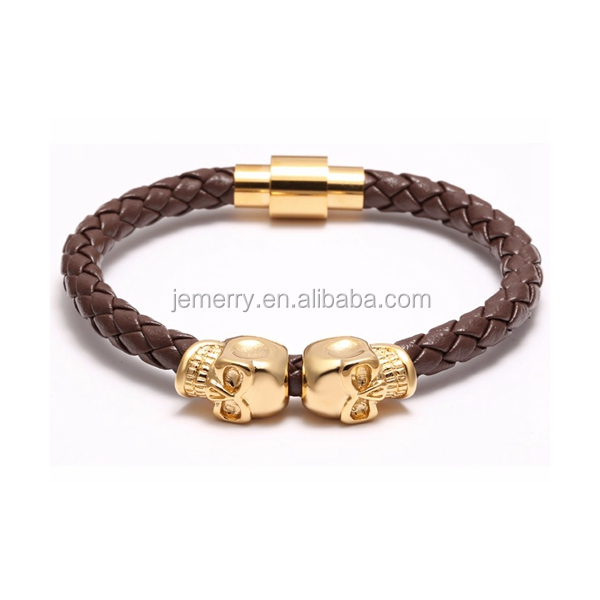 Pulsera Luxury Braied Bracelets For Men Genuine Leathers Men Women Bracelet Gold Double Skull Bracelet Magnetic ClaspJewelry