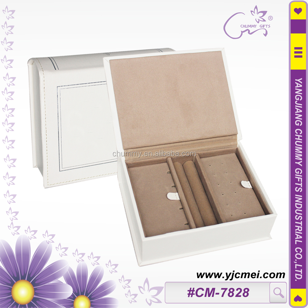 CM-7828 Book shape Jewelry Box with ring holder and earing holder inside