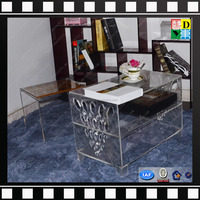 2016 New design transparent low acrylic tea table,acrylic end table with magazine rack