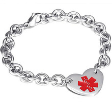 Amazon aliexpress new style medical logo jewelry men 316 stainless steel Oval Cross chains heart-shaped charm Bracelet