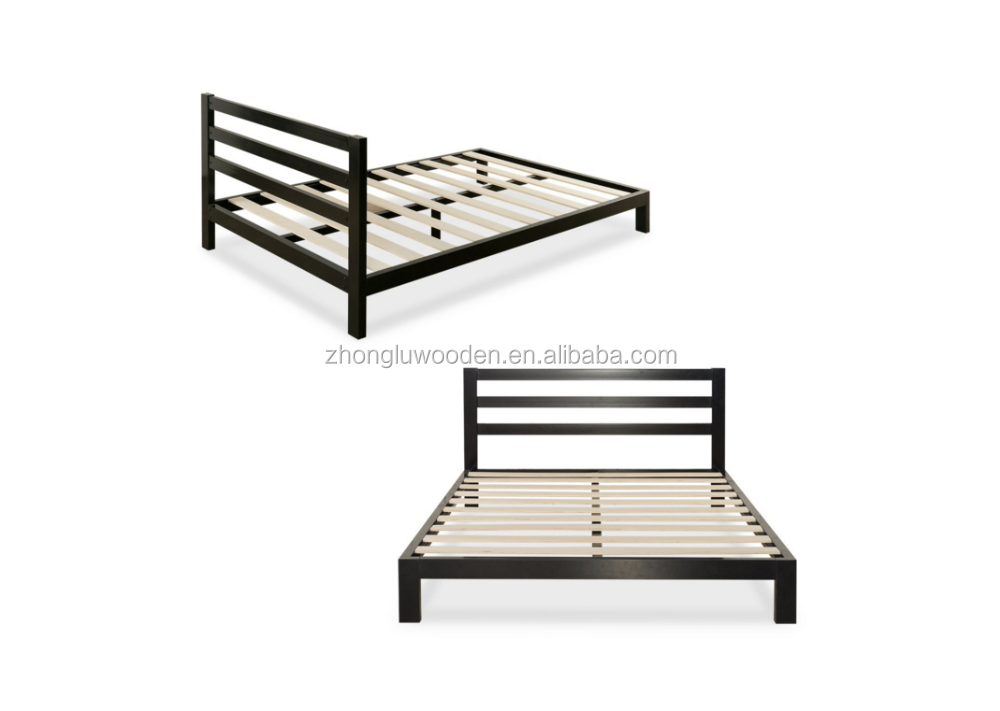 10 Inch Platform 2000H Metal Bed Frame Mattress Foundation Wooden Slat Support with Headboard Queen