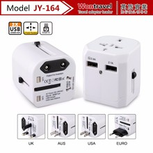 JY-164 International Universal Travel Multi Sockets Plugs Adapter with Double USB Ports Charger Adaptor