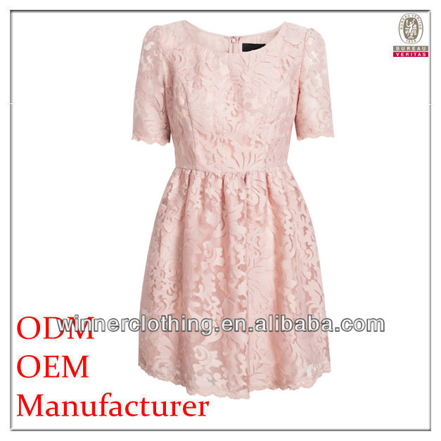 2015 High Quality European Retro Style ladies' lace overall pleated traditional design of dress
