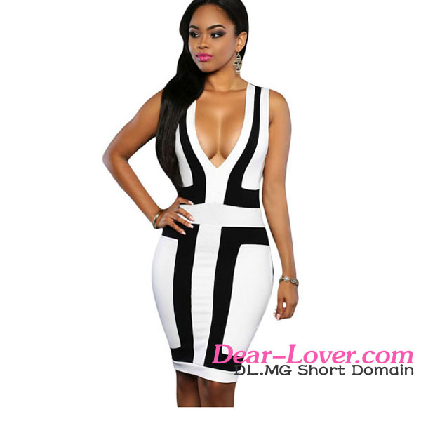 Black White Color-block V Neck Sleeveless Dress pakistani new style sexy girls in tight dresses