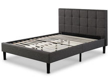 Leather upholstered platform bed Button Tufted headboard Queen