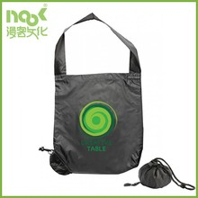 Waterproof 170D polyester with no gusset quickly folds tote bag in a ball