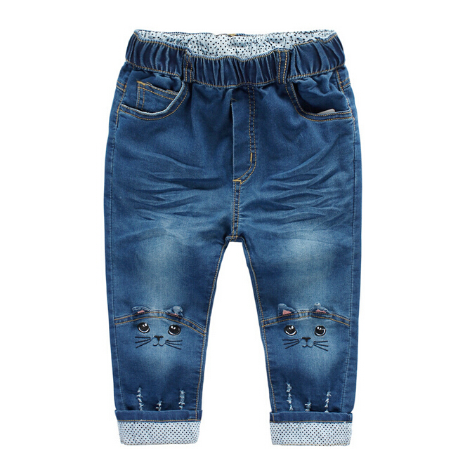 Tat16049autumn kids jeans cat printed hole baby jeans