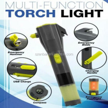Multi-functional security torch light+ magnet+ cutter+ radio+ hammer