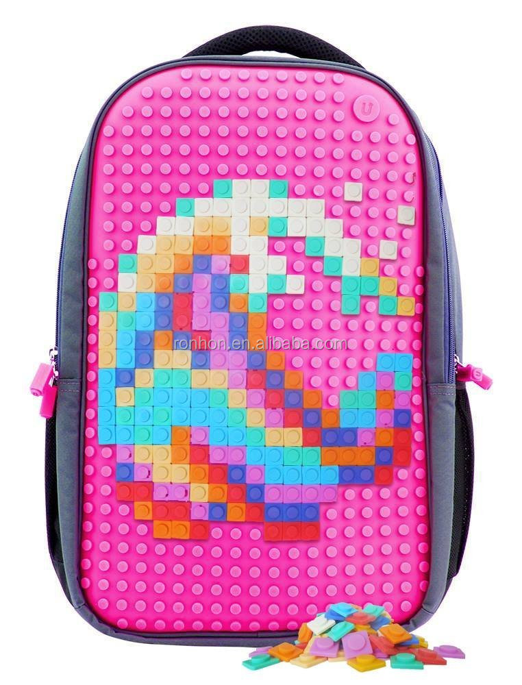 Puz Kids Silicon School Bag DIY Pixel Art Kids Laptop Bag