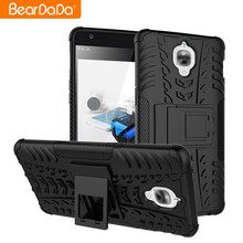 Shockproof kickstand hybrid back cover case for one plus 3